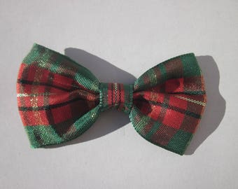 big bow in green, red and gold fabric 3.5 x 6 cm approx (A249