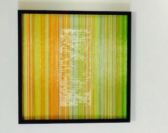 Modern Framed Dimensional Art Glass Vertical Strands With A Textural Center