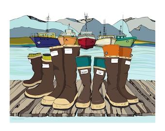 Alaska art, illustration design, alaskan scene, landscape artwork, 11x14 16x20 art print, lake decor, illustration print, xtra tuf art