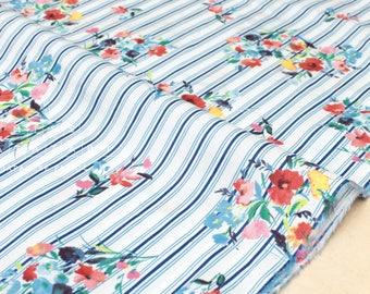 Japanese Fabric Posie Stripes - cotton lawn - C - 50cm