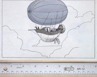 "Inktober original art ""air ship"""