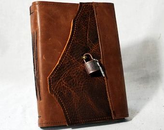 Medium Soft Umber Leather Diary with Lock