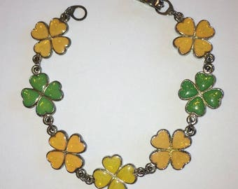 Vintage Silver Tone Four Leaf Clover Bracelet, Lucky Irish Charm for St Patrick's Day