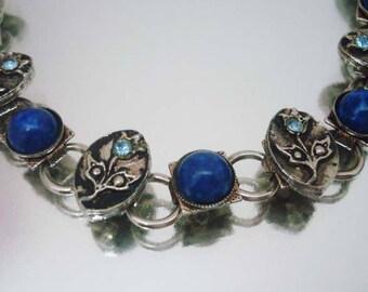 Blue Rhinestone Flower Bracelet Vintage Lapis? Blue Bracelet Rhinestone Bracelet Flower Bracelet Lapis? Bracelet