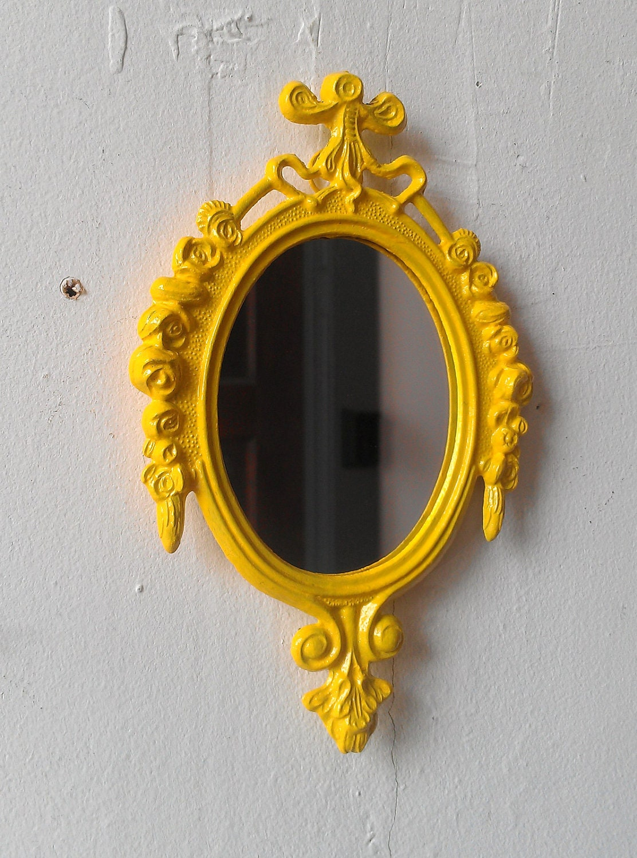 Decorative Wall Mirror Yellow Home Decor Apartment Wall