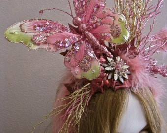 SALE Tatiana: Fairy Headpiece Butterfly Fascinator Headband Pink Gold Branches Leaves Feathers Oversized Statement Faerie Renaissance Fair