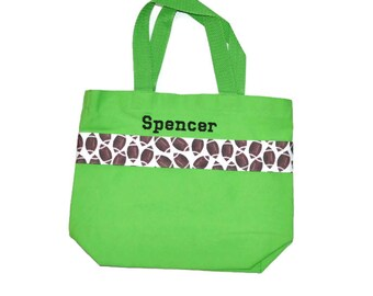 Football Tote Bag with Monogram Name Embroidered on it, Personalized Bag, Swin Bag, Toy Bag, Boy Tote Bag