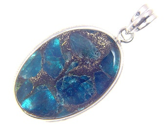 Sterling Silver Blue Apatite with Bronze Matrix pendant with SP chain necklace 2499P