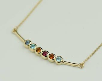 Family Tree Gemstone Bar Necklace - Personalized Jewelry. Birthstone Pendant for Mom, Grandmom. 14k, 18k Yellow, Rose, White Gold, Platinum