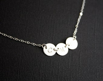 Custom Initial Three Sideways Disks Necklace - Sterling Silver- Engraved family Initial necklace, birthday gift,  Mother's Day gift for her