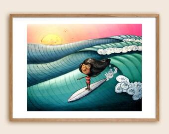 """Surf Art Print - Sea Art - Beach Art - Ocean Art - Children's Illustration: """"Surf Girl"""""""