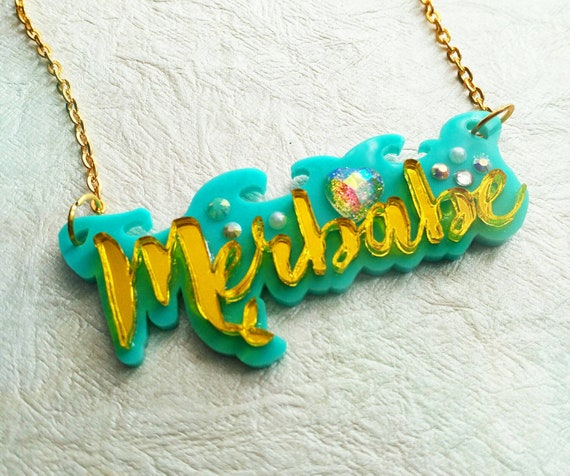 MERBABE SWAG NECKLACE- Nautical Mermaid Name Plate Laser Cut Acrylic Wave Double Layer Pendant Yellow Gold Aqua Bling Necklace.