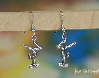 Sterling Silver Gymnast on Balance Beam Earrings Fishhook Solid .925