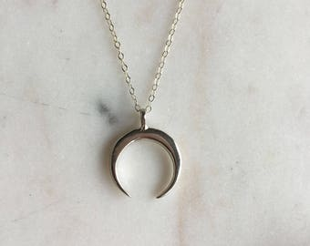 Luna moon necklace, stering silver  half moon necklace, pretty modern jewelry