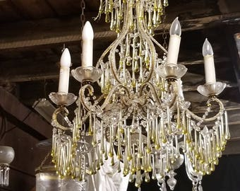 Boho Chandelier, Glass Drop Chandelier, Gold and Clear Chandelier