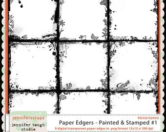 Instant Download - Set of 9 digital paper overlays/edgers - transparent png format- CU4CU ok