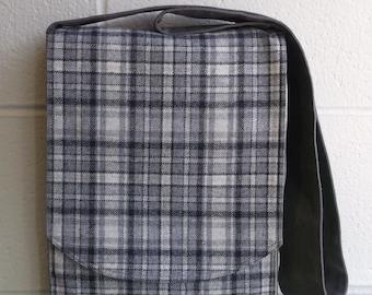 Grey & Black Plaid Wool Messenger Bag