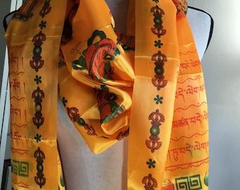 Good luck good fortune men women silk scarf