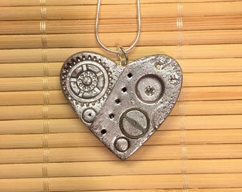 Steampunk Silver Heart Pendant - Valentine's Day Necklace for Women - Industrial Jewelry Polymer Clay