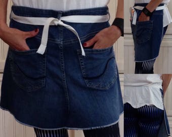 Denim half apron, Two pockets, white webbing waist ties, dark blue repurposed denim, Blue bling pocket stitching, upcycled denim