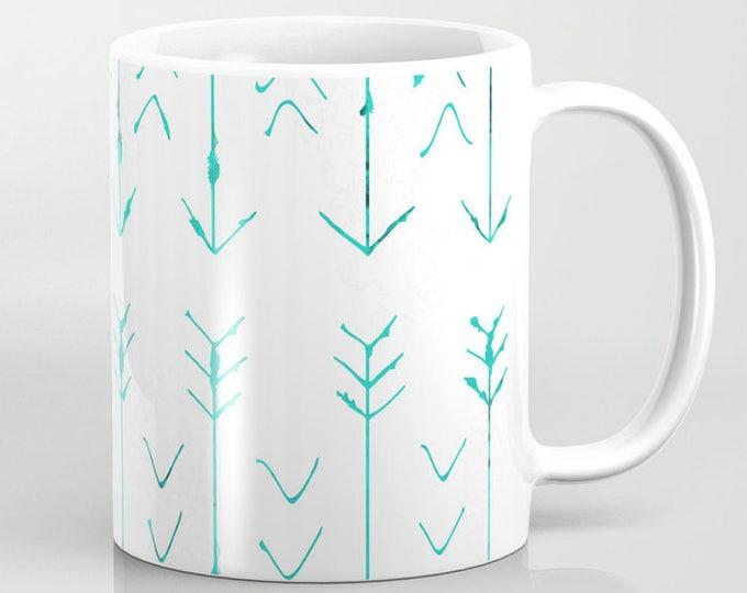 Mug With Large Teal Arrows - Coffee Mug - Ceramic - 11 oz - 15 oz - Made to Order