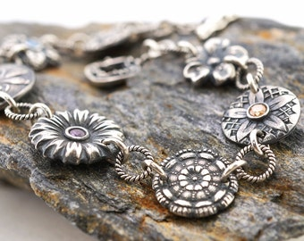 "Fine silver flowers bracelet, vintage button style, dragonfly, Irina Miech metal clay, 8 1/4"" long"