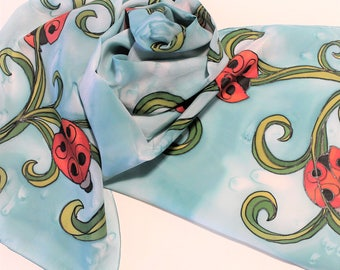 Hand Painted Silk Scarf - Handpainted Scarves Ladybug Lady Bugs Turquoise Light Blue Aqua Red Orange Green Spring Summer Garden