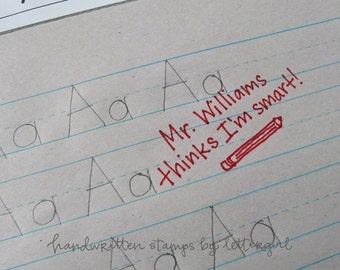 Handwritten Teacher Praise Stamp with pencil illlustration