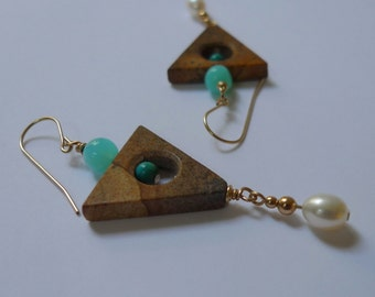 Gold-filled Picture Jasper, Peruvian Opan and Pearl Triangle Earrings
