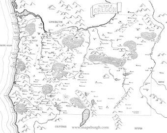 Fantasy map of Oregon