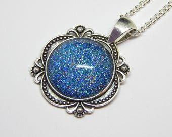 Blue Glitter Cabochon Pendant - Sky Blue Glitter Necklace - Iridescent Glitter Necklace - Sea Cabochon Pendant - Silver Blue Necklace