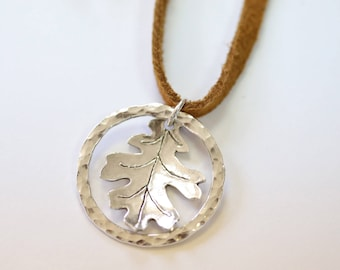 Sterling oak leaf necklace Nature jewelry fall jewelry leather necklace