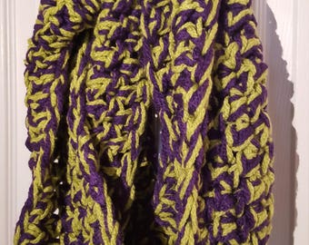 Purple & Green Infinity Scarf
