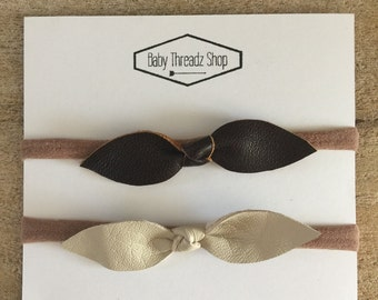 Baby/Toddler Nylon Headbands Genuine Leather Knotted Bow Set Of 2 Headbands