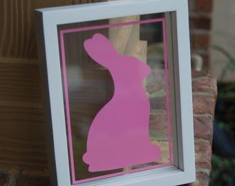 Easter Rabbit floating Frame, Pink