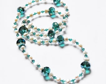 Green Teal and Pearl Long Necklace
