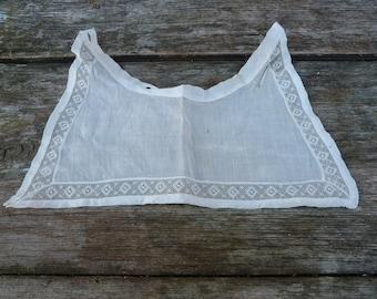Vintage Antique Victorian /Edwardian French cream organdi cotton  + thin lace collar