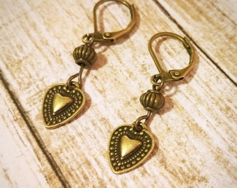 Heart Earrings / Boho Earrings / Vintage Earrings / Leverback Earrings / Bronze Earrings