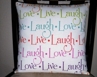 """Inspirational - 14"""" x 14"""" Pillow Cover - Pillow Sham - LIVE LOVE LAUGH - Teal White"""
