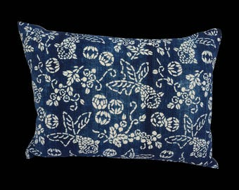Indigo Chinese Blue & White Batik Koi Fish Pillow