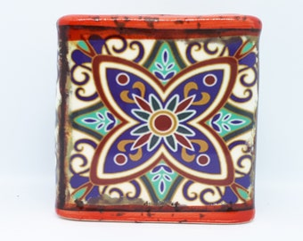 Boho Design Scented Soy Candle - Red