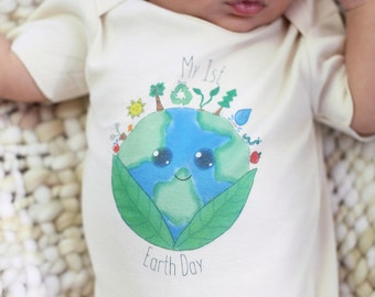 Baby Earth Day, Organic Baby Bodysuit, Gender Neutral Certified Organic Cotton, My First Earth Day, Earth Day