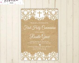 Rustic first communion invitation girl first communion invite boy holy communion invitation burlap invitation christening invitation 180