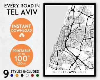 Tel Aviv map print, Printable Tel Aviv map art, Israel map, Tel Aviv print, Tel Aviv art, Tel Aviv poster, Tel Aviv wall art, Tel Aviv gift