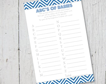 "ABC's of Babies Royal Blue Chevron  Baby Shower Game - Printable 4 1/4"" x 8 1/2"""