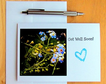 Get Well Soon Card, Wildflower Card, Get Well, Well Wishes Card, Handmade Card, Photo Card, Stationery, Greeting Card, Speedy Recovery Card