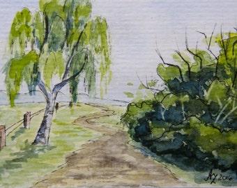 """Original ACEO 2.5""""x3.5"""" Watercolor"""