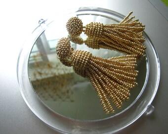 Gold beaded tassel Earrings, 2,5 inch, statement earrings, tassel earrings, beaded dangle earrings, Designer earrings, sterling silver