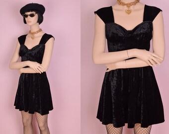 90s Black Crushed Velvet Dress/ US 4/ 1990s