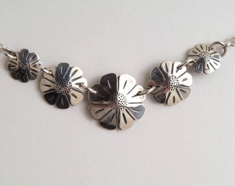 5 Coins Silver Daisies Necklace made from 5 Vintage American Silver Coins